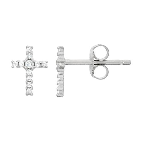 Junior Jewels Kids' Sterling Silver Cubic Zirconia Cross Stud Earrings