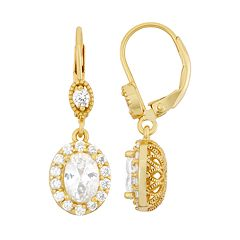 14k Gold Over Silver Halo Drop Earrings