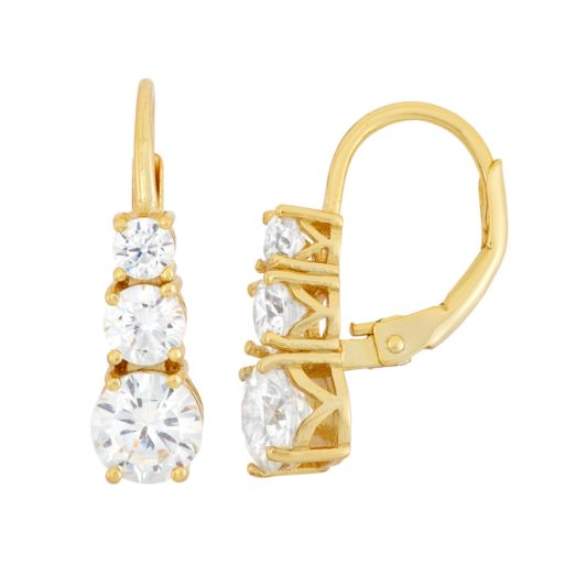 14k Gold Over Silver Cubic Zirconia Graduated Drop Earrings