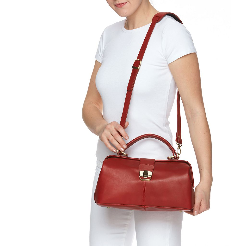 AmeriLeather Hillary Leather Ostrich Shoulder Bag