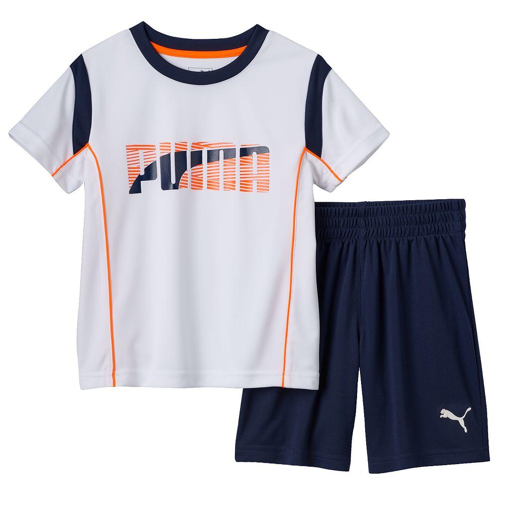 Toddler Boy PUMA Contrast Stitch Tee & Shorts Set