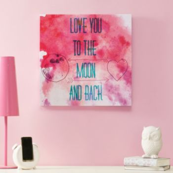 """Intelligent Design """"Love You To The Moon And Back"""" Canvas Wall Art"""