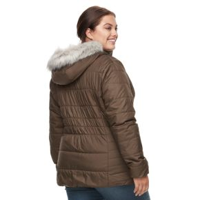 Plus Size Spark Lake Sparks Lake Thermal Coil Hooded Faux-Fur Trim Jacket