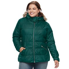 Plus Size Spark Lake Sparks Lake Thermal Coil Hooded Faux-Fur Trim Jacket