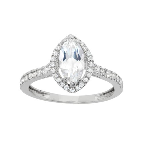 10k White Gold Cubic Zirconia Marquise Halo Engagement Ring