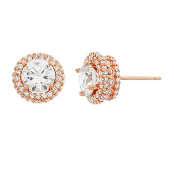 10k Rose Gold Cubic Zirconia Halo Stud Earrings