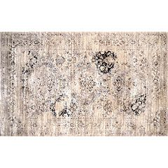 nuLOOM Vintage Viscose Distressed Framed Floral Panel Rug