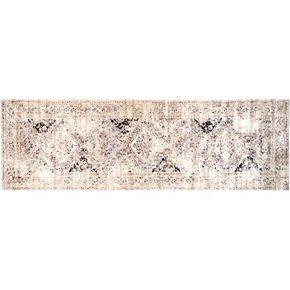 nuLOOM Vintage Viscose Distressed Framed Floral Panel Rug