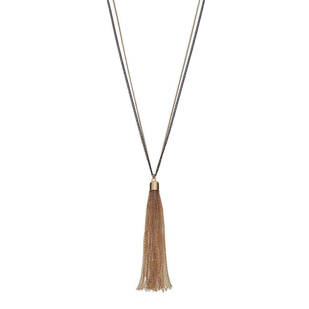 Two Tone Long Tassel Pendant Necklace