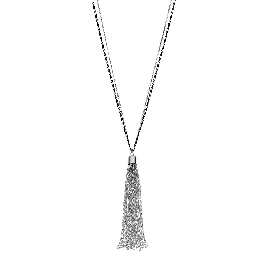 Two Tone Long Tassel Pendant Necklace