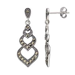 Tori Hill Sterling Silver Marcasite Drop Earrings