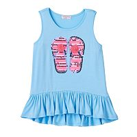 Girls 4-6x Design 365 High-Low Ruffle Sequin Tank
