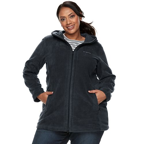 2c14f23f1dd Plus Size Columbia Three Lakes Hooded Long Fleece Jacket