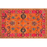 nuLOOM Overdyed Framed Floral Wool Rug