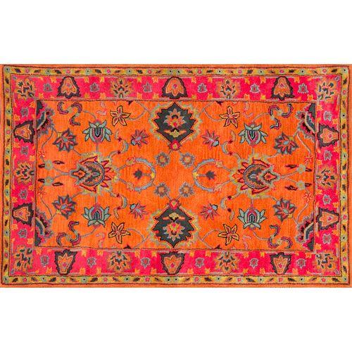 nuLOOM Overdyed Framed Floral Wool Rug