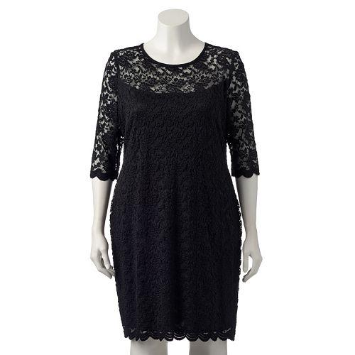 Plus Size Connected Apparel Floral Lace Sheath Dress