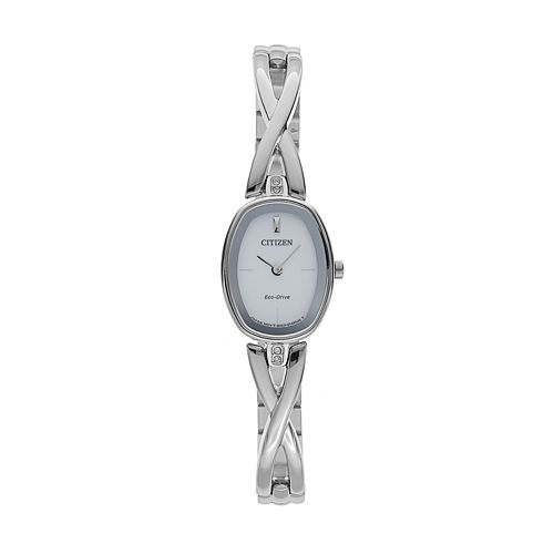 Citizen Eco-Drive Women's Silhouette Crystal Stainless Steel Half-Bangle Watch - EX1410-53A