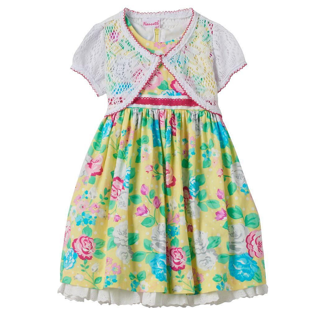 Toddler Girl Nannette Rose Print Dress & Shrug Set