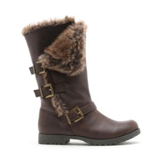 Qupid Women's Faux-Fur Buckle Boots