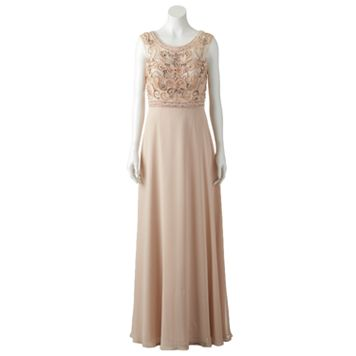Women's 1 by 8 Embellished Illusion Evening Gown