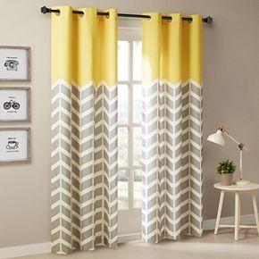 Intelligent Design 2-pack Elle Chevron Window Curtains