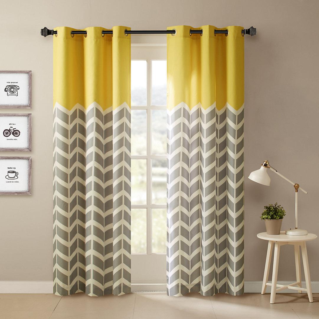 Intelligent Design 2 Pack Elle Chevron Window Curtains