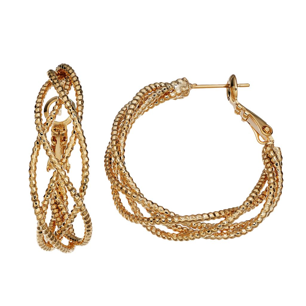 14k Gold-Plated Twist Hoop Earrings