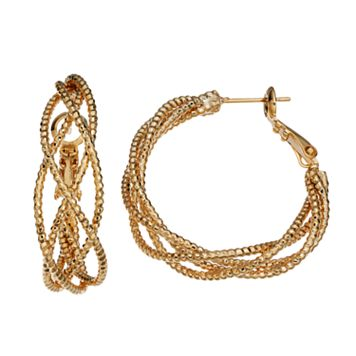 14k Gold-Plated Twist Hoop Earrings