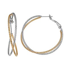 Two Tone 14k Gold-Plated Crisscross Hoop Earrings