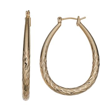 14k Gold-Plated Textured Oval Hoop Earrings