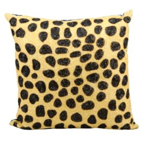 Mina Victory Leopard Pattern Beaded Throw Pillow