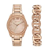 Jennifer Lopez Women's Crystal Stainless Steel Watch & Bracelet Set
