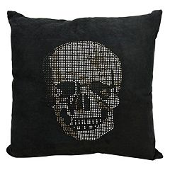 Mina Victory Rhinestone Skull Throw Pillow