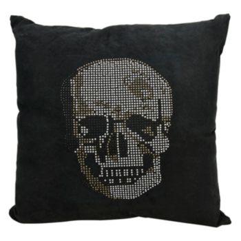 Mina Victory Rhinestone Skull Throw Pillow