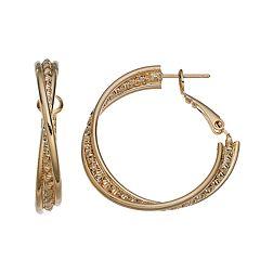 14k Gold-Plated Textured Crisscross Hoop Earrings