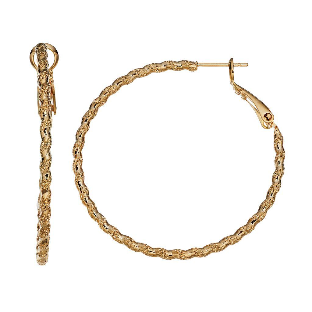14k Gold-Plated Textured Twist Hoop Earrings