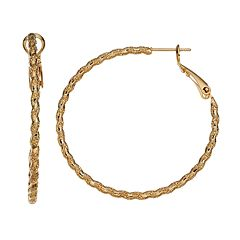 14k Gold-Plated Textured Twist Hoop Earrings