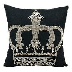Mina Victory Crown Beaded Throw Pillow