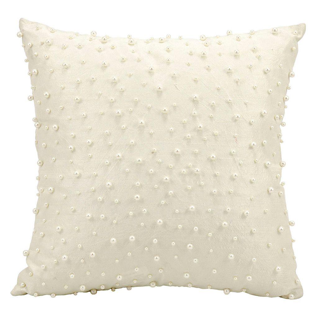 Mina Victory Random Faux Pearls Beaded Throw Pillow