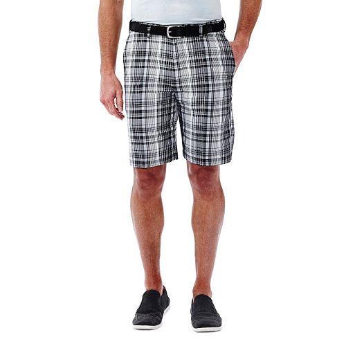 Men's Haggar Plaid Flat-Front Shorts