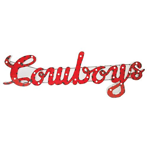 Oklahoma State Cowboys Recycled Metal Lighted Wall Décor