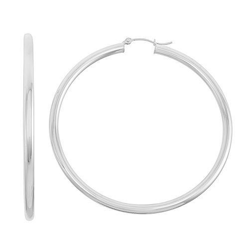 14k Gold Tube Hoop Earrings - 60 mm