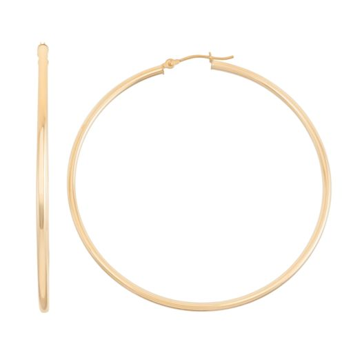 14k Gold Tube Hoop Earrings - 65 mm