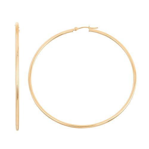 14k Gold Tube Hoop Earrings - 45 mm