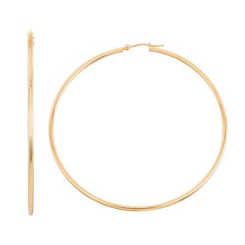 14k Gold Tube Hoop Earrings - 40 mm