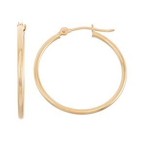 14k Gold Tube Hoop Earrings - 30 mm