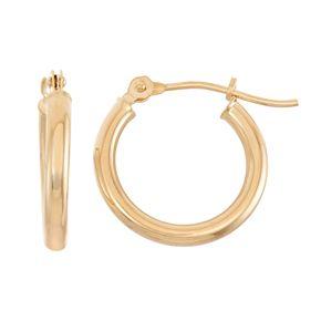 14k Gold Tube Hoop Earrings - 15 mm