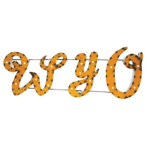 Wyoming Cowboys Recycled Metal Lighted Wall Décor