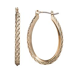 Textured Oval Hoop Earrings