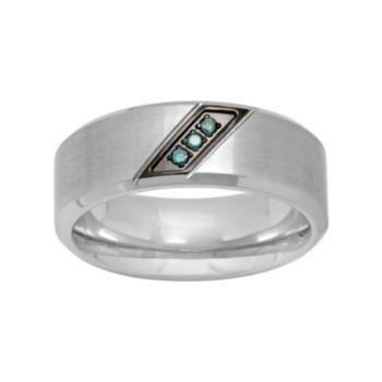 Men's Stainless Steel Blue Diamond Accent Ring